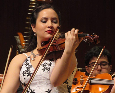 barbara santiago violin player with the icopr